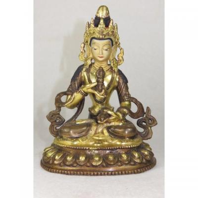 Nepal Tibet Bouddha Tara Blanche Bronze Polychrome Vajra