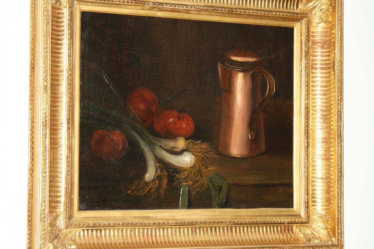 Etienne Philipe Martin (1856+1945)nature morte au cuivre