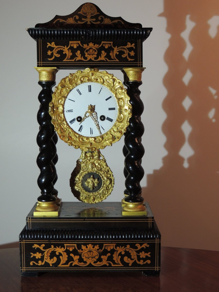 Pendule Portique Marquetée Napoléon III