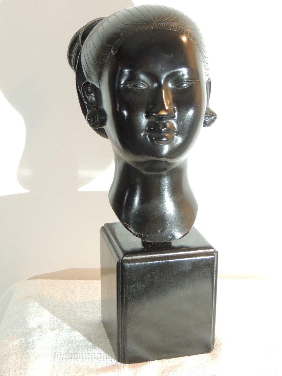 Tête En Bronze , Jeune Femme Asiatique , Indochine 20 ème Siècle-photo-2