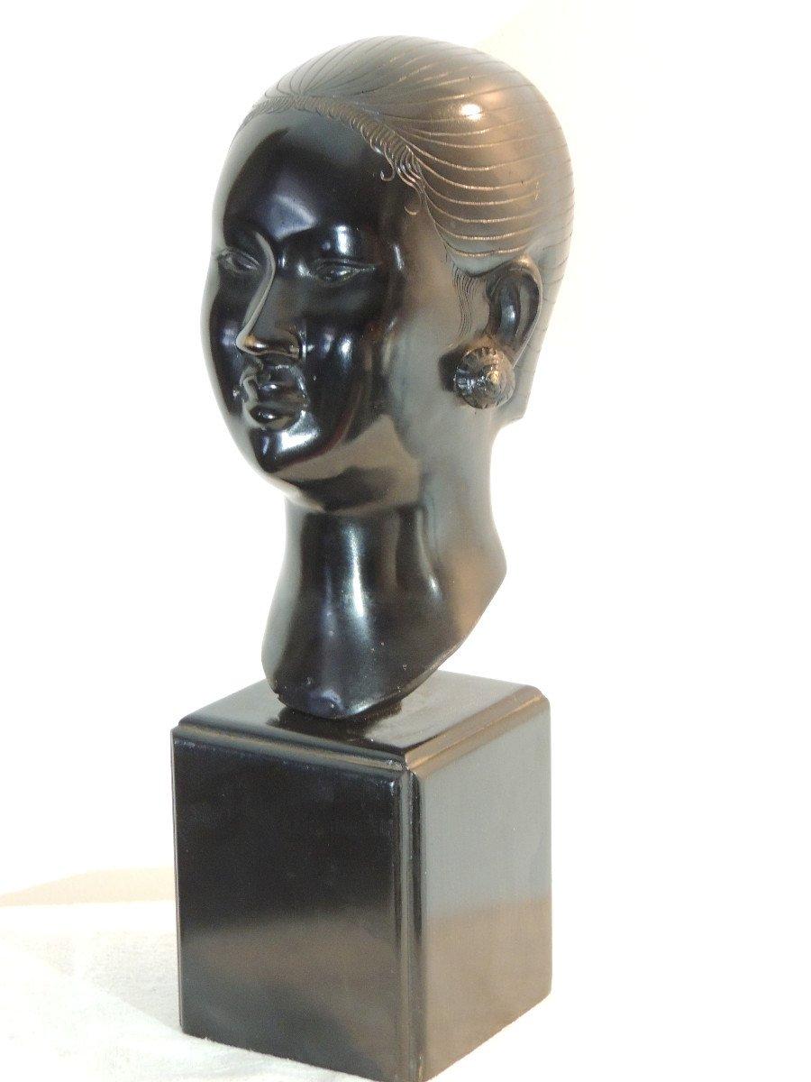 Tête En Bronze , Jeune Femme Asiatique , Indochine 20 ème Siècle-photo-3