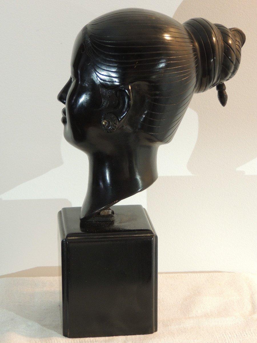 Tête En Bronze , Jeune Femme Asiatique , Indochine 20 ème Siècle-photo-4