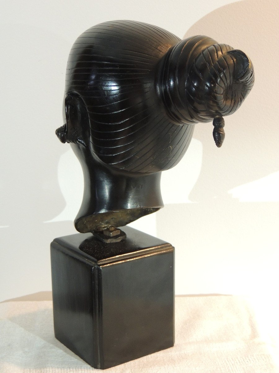 Tête En Bronze , Jeune Femme Asiatique , Indochine 20 ème Siècle-photo-1