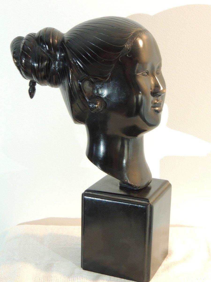 Tête En Bronze , Jeune Femme Asiatique , Indochine 20 ème Siècle