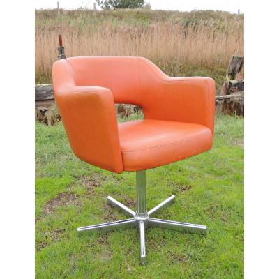 4 Vintage Armchairs In Orange Faux Leather.