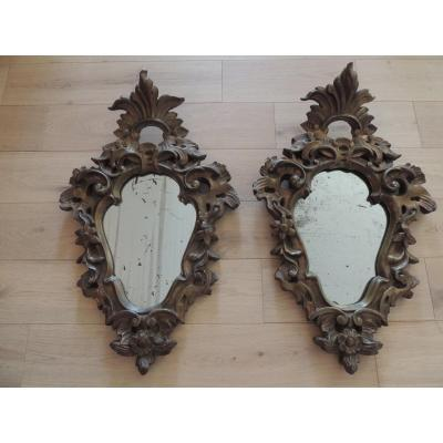 Antique Louis XV Rocaille Mirrors, Stuccoed Wood