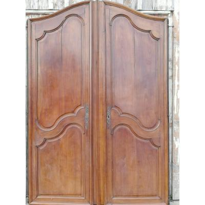 Pair Of 18th Century Bordeaux Cabinet Doors In Mahogany.