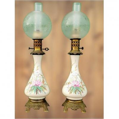 Pair Of Oil Lamps 19th Floral Decor.