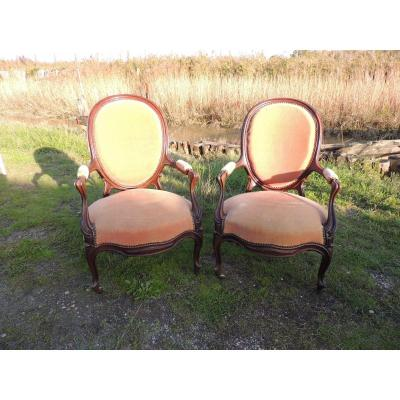 Pair Of Louis XV Armchairs 19th In Mahogany.