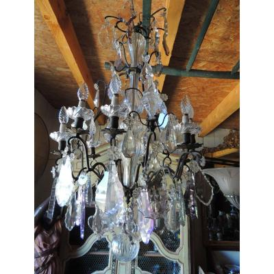 Cage Chandelier In Bohemian Crystal Louis XV 19th, 9 Lights 3 Daggers.
