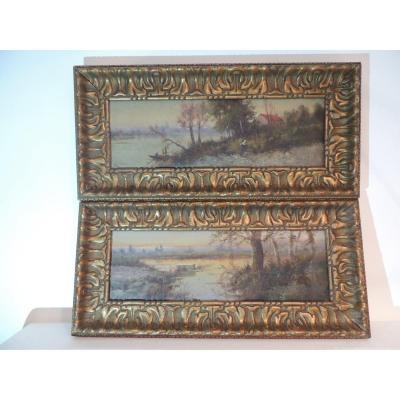 Old Paintings Signed Blasco Animated Tree Landscape 19th.