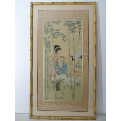 Painting On Silk, Gouache Painting Of A Young Asian Musician, 20th