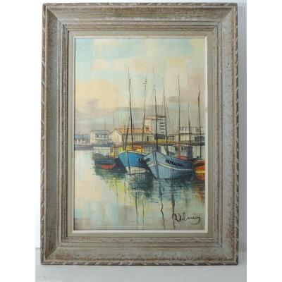 Oil Painting On Canvas, Marine Painting Of A Fishing Port, 20th