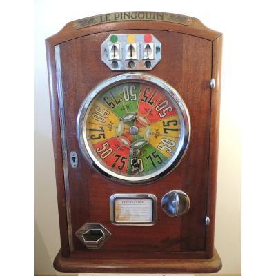 Machine A Sous Ancienne Le Pingouin , Jeu De Bar 1930-1934.
