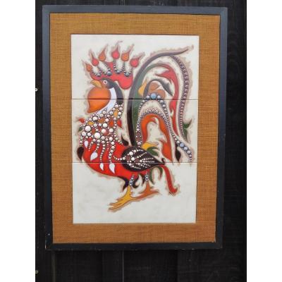 Tableau d'Un Coq Peint Sur Des Carreaux En Céramique Par Dufay à Sant Vicens