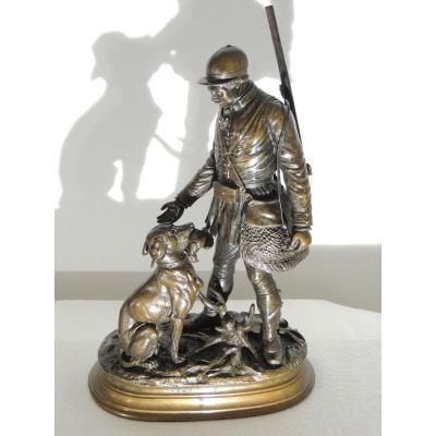 édouard Paul Delabrierre (1829-1912) Chasseur Et Son Chien Sculpture En Bronze