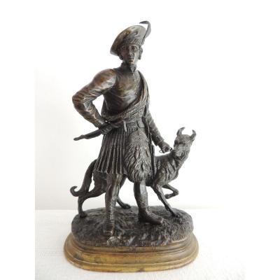 édouard Paul Delabrierre ( 1829-1912 ) écossais Avec Son Chien, Sculpture En Bronze