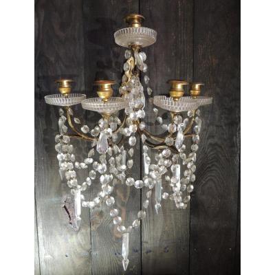 Applique En Bronze Et Pampilles En Cristal