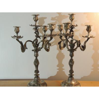 Paire De Candélabres , De Flambeaux ,de Chandeliers , De Bougeoirs En Bronze Argenté Louis XV