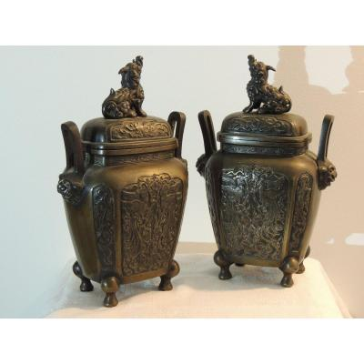 Covered Bronze Pot, Pair Of Vases Topped With Chie Fu, Chinese Dogs, From The 19th Century