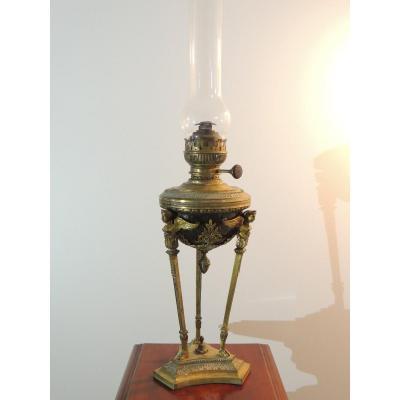 Lampe à Pétrole Dit Athénienne En Bronze Doré De Style Empire 19 ème Siècle