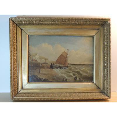 Tableau Marine huile sur toile Du 19 ème Siècle  De H. Defraine