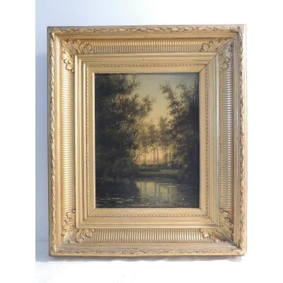 Table Oil Painting On Wood Panel, Lake Landscape, By Louis Hendricks (1827-1888)