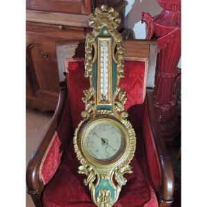 Baromètre Thermomètre En Bois Doré De Benard à Provins Et Selon Réamur, époque Louis XV, 18 ème