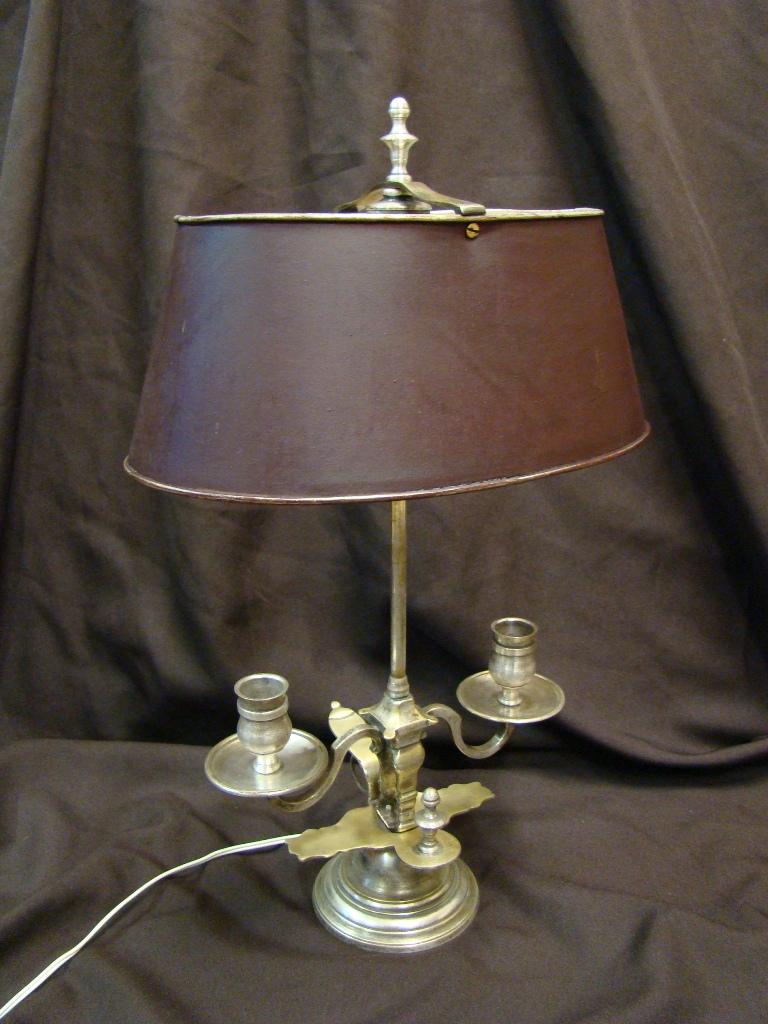 Lampe Bouillotte à Deux Feux En Bronze Argenté - Début XXeme