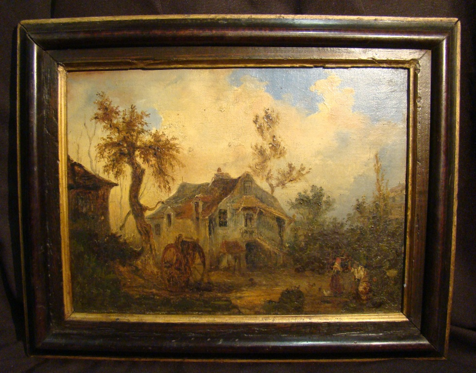 Flemish School Seventeenth. Oil On Canvas In The Animated Landscape