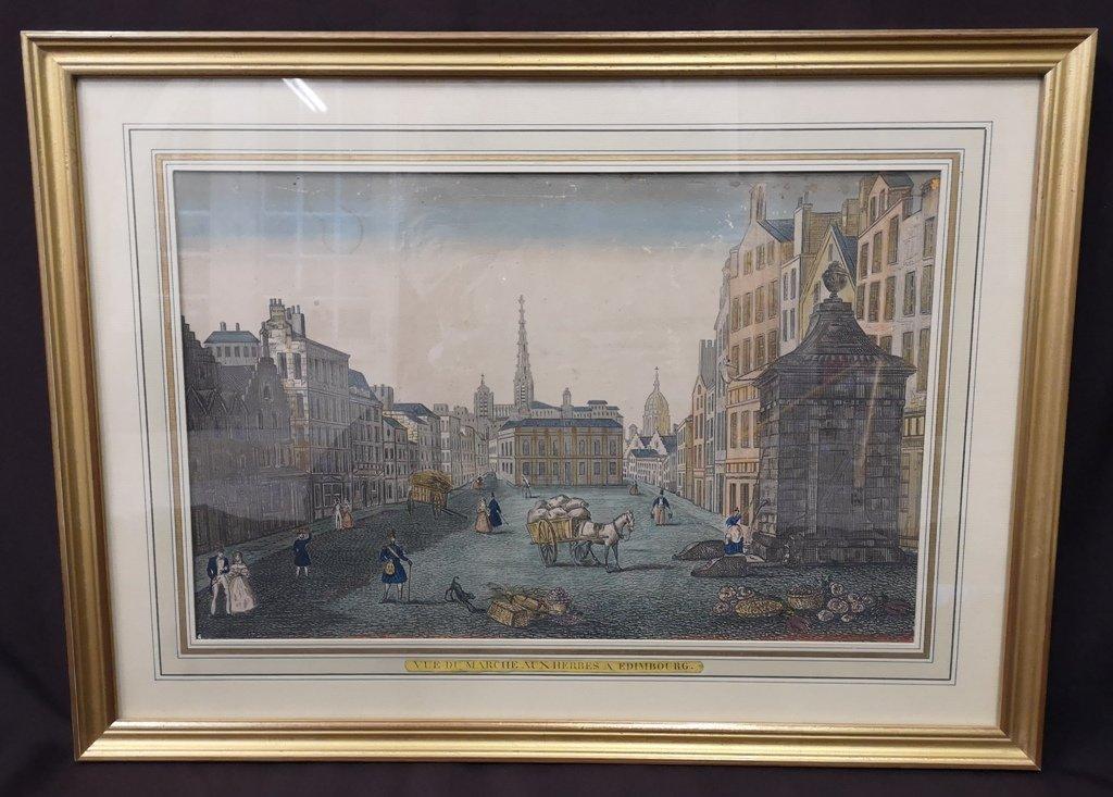 Vue d'Optique. Epoque XVIIIème. Marché Aux Herbes à Edimbourg