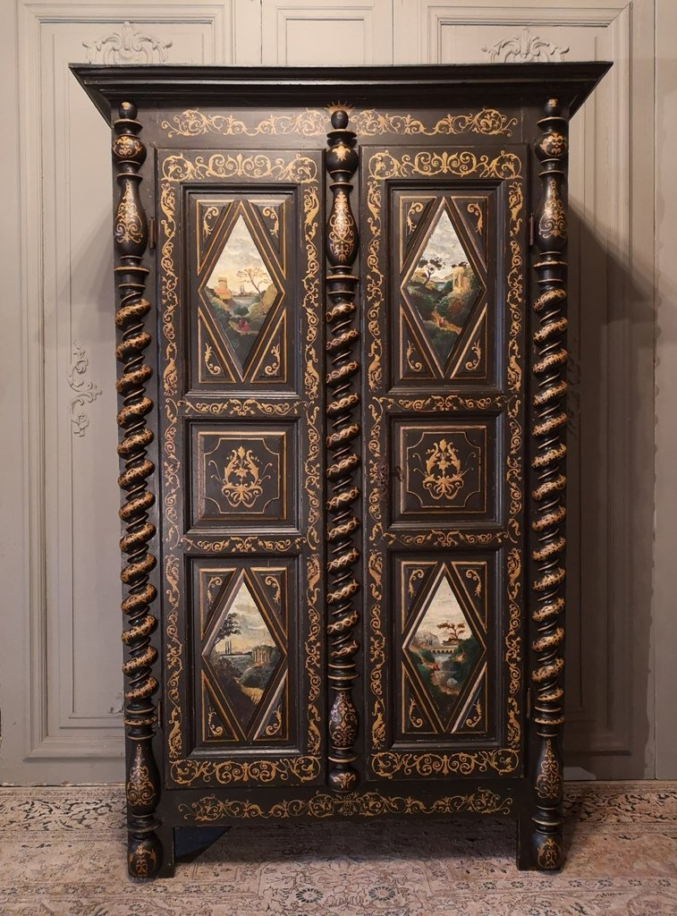 Small Painted Wardrobe In The Taste Of Uzès. Early Eighteenth Time