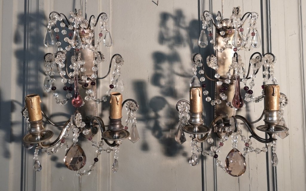 Pair Of Silver Bronze Wall Lights With Two Arms Of Lights