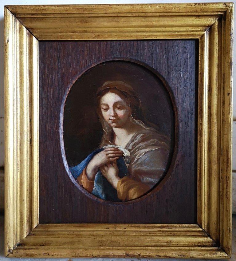 Huile Sur Panneau - Vierge En Adoration. Epoque XVIIème