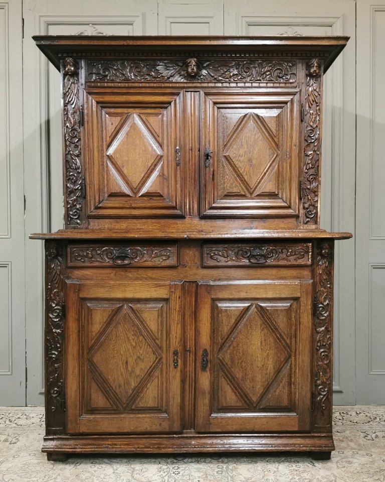 Buffet Quatre Volets d'époque Louis XIII En Chêne Sculpté