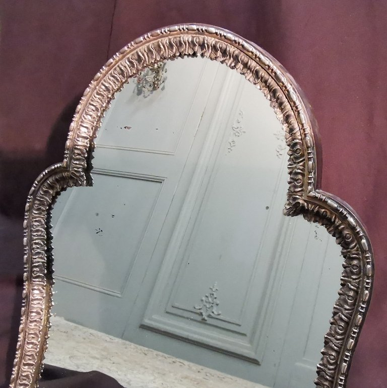 Miroir De Table En Métal Argenté. Epoque Début XIXème-photo-2