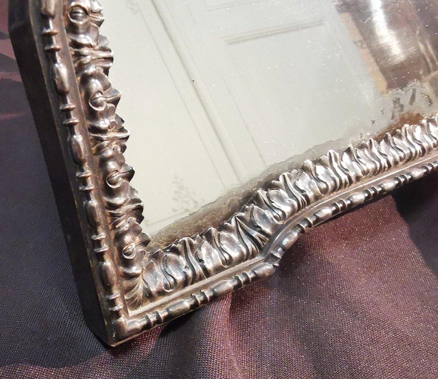 Miroir De Table En Métal Argenté. Epoque Début XIXème-photo-3