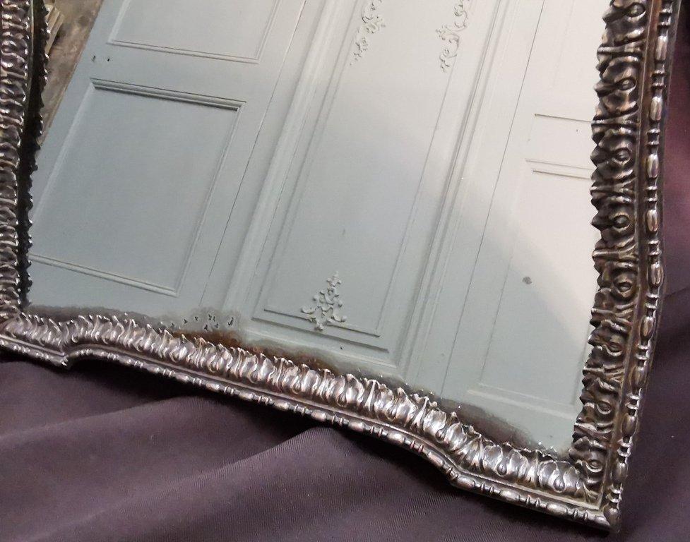 Miroir De Table En Métal Argenté. Epoque Début XIXème-photo-4