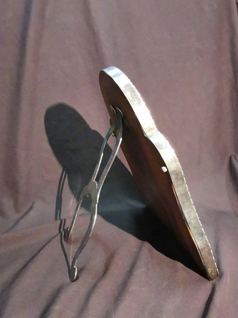 Miroir De Table En Métal Argenté. Epoque Début XIXème-photo-8