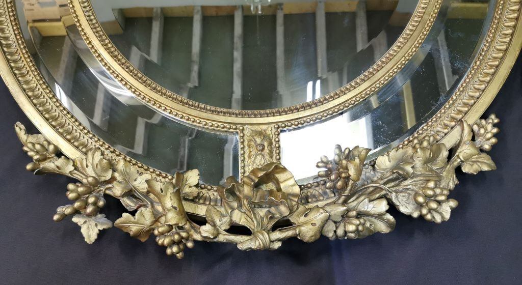 Oval Golden Mirror With Parecloses From Napoleon III Period. Middle XIXth-photo-2