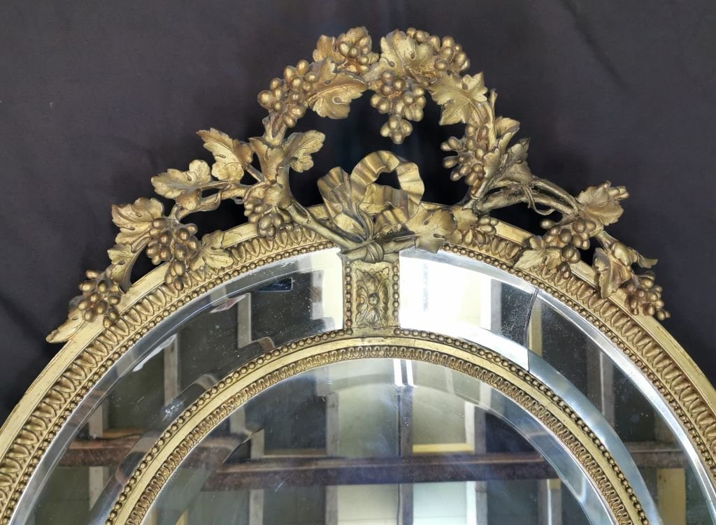 Oval Golden Mirror With Parecloses From Napoleon III Period. Middle XIXth-photo-3