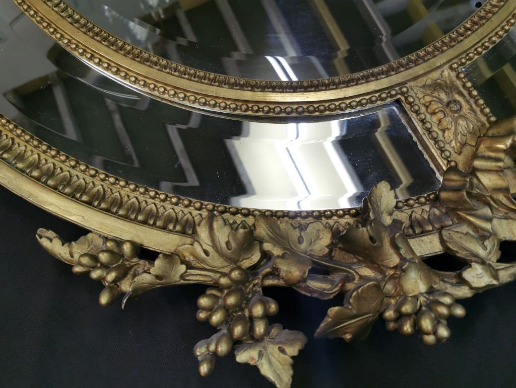 Oval Golden Mirror With Parecloses From Napoleon III Period. Middle XIXth-photo-4