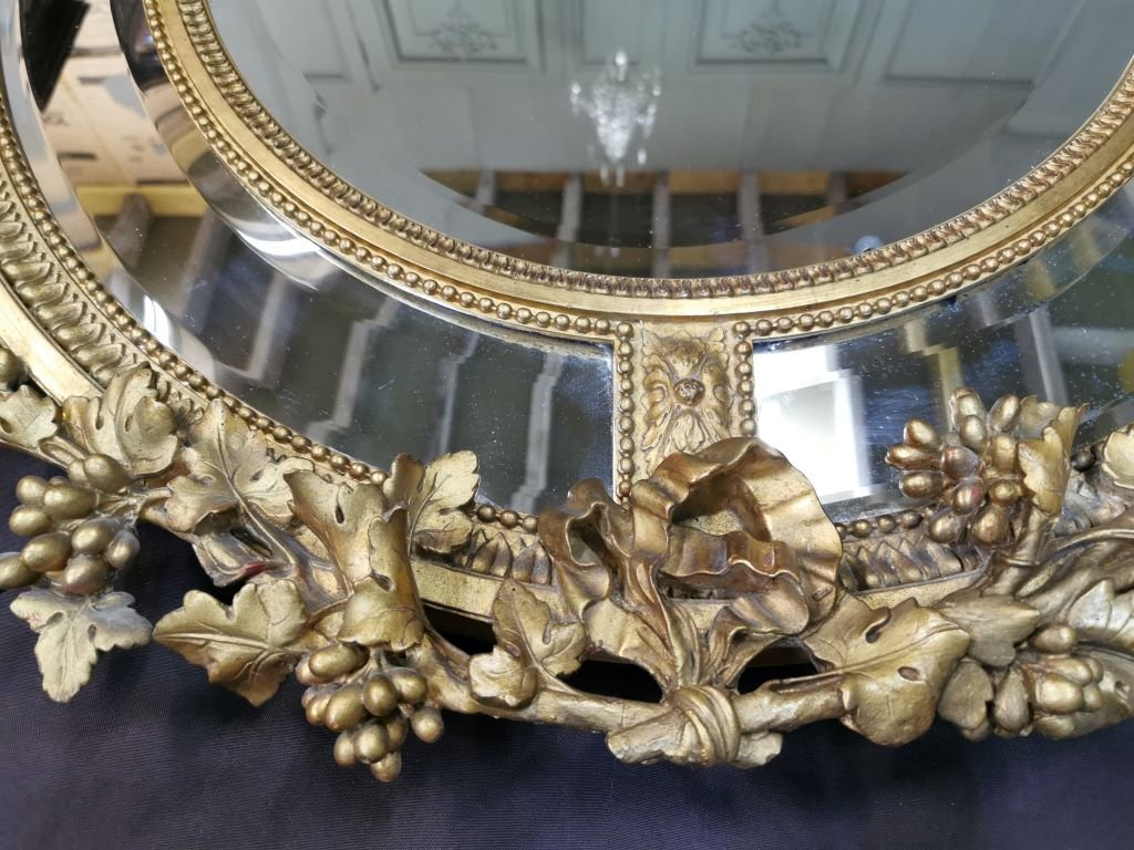 Oval Golden Mirror With Parecloses From Napoleon III Period. Middle XIXth-photo-6