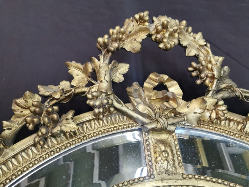 Oval Golden Mirror With Parecloses From Napoleon III Period. Middle XIXth-photo-7