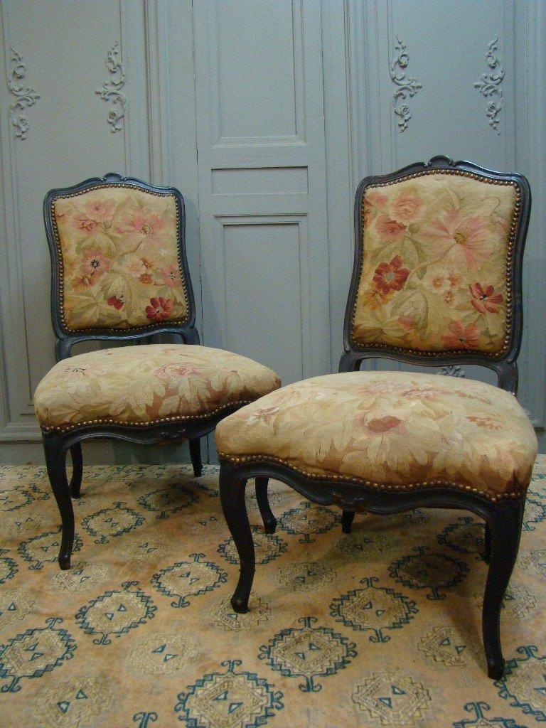 Paire De Chaises d'époque Louis XV Dossiers à La Reine.