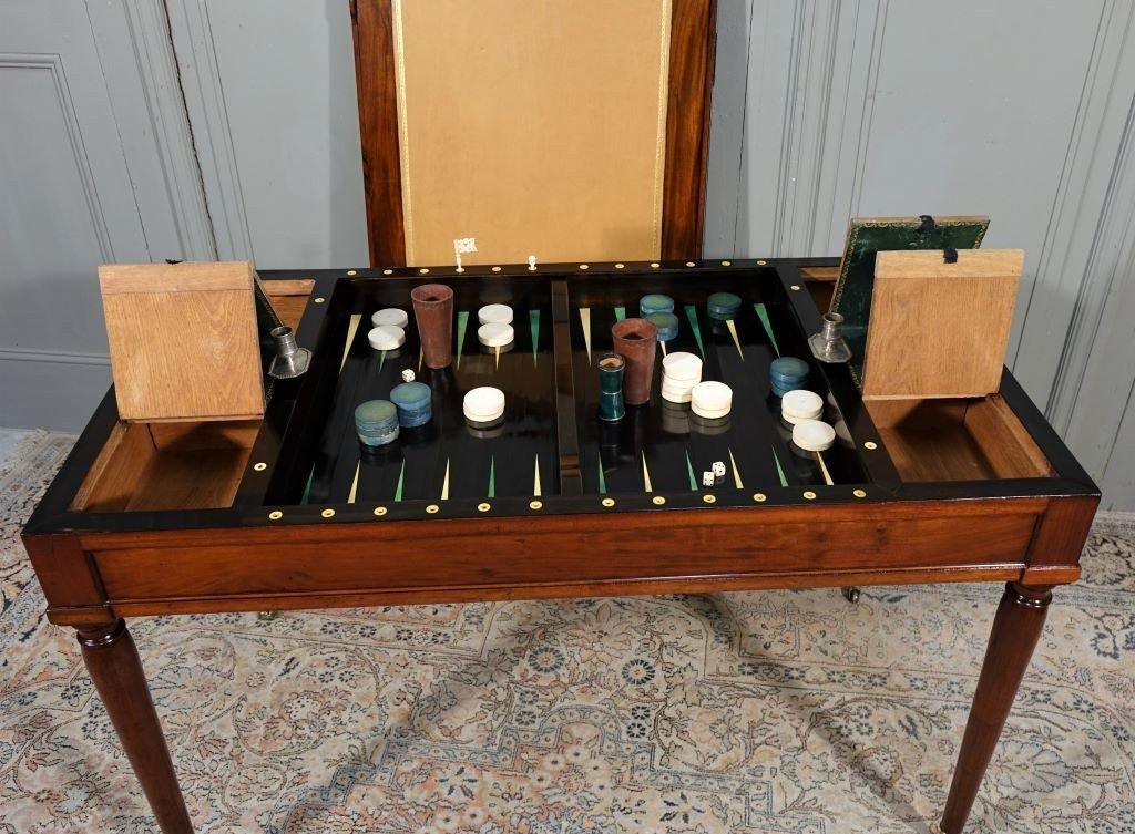 Table De Tric Trac d'époque Louis XVI Estampillée D.L ANCELLET-photo-7