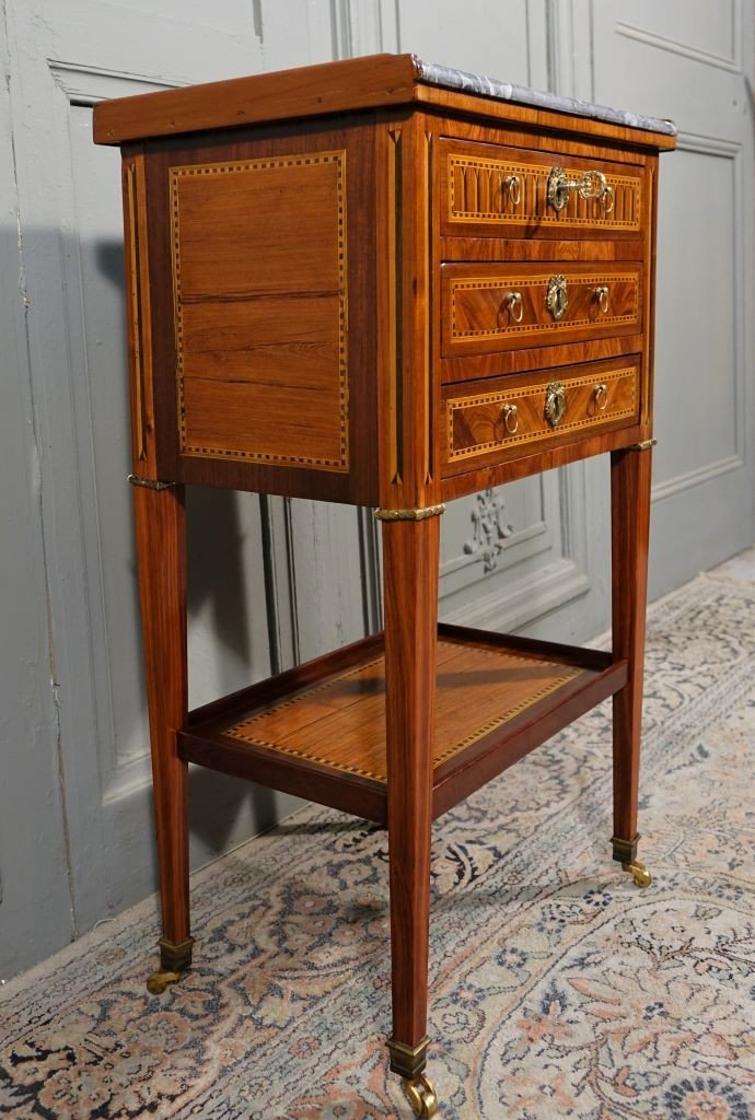 Louis XVI Period Chiffonnière Table In Marquetry-photo-1