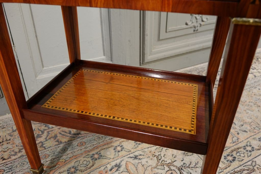 Louis XVI Period Chiffonnière Table In Marquetry-photo-5