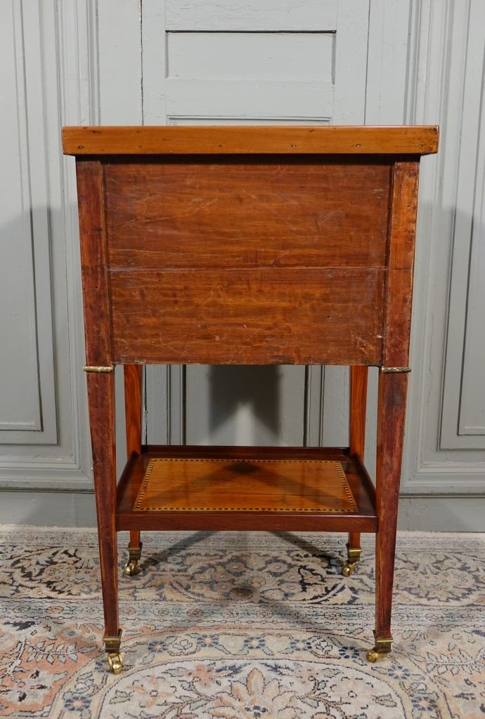 Louis XVI Period Chiffonnière Table In Marquetry-photo-7