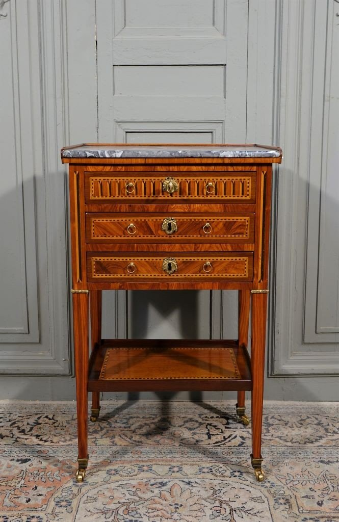 Louis XVI Period Chiffonnière Table In Marquetry